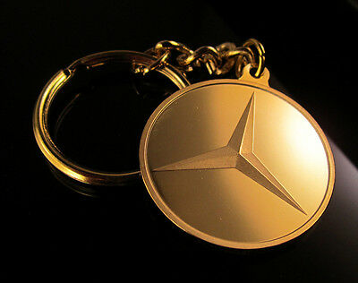 24K Gold Layered Keyring Key Ring Key Chain with Mercedes Benz Logo