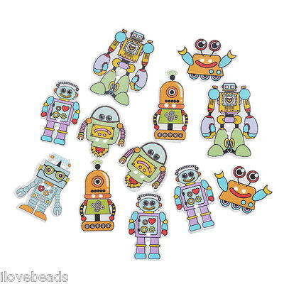 50PCs Cardmaking Robot Wood Button Two Holes Scrapbooking Craft 3.5x2.7cm