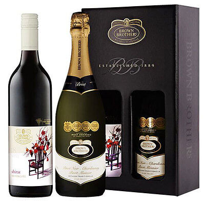 Brown Brothers Shiraz Pinot Noir Red Sparkling Wine Birthday Christmas Gift Set