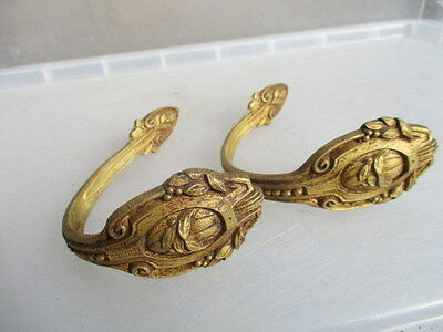 Vintage Brass Curtain Tie Backs Scrolls Fruit Leaf Pair Antique Old Beading