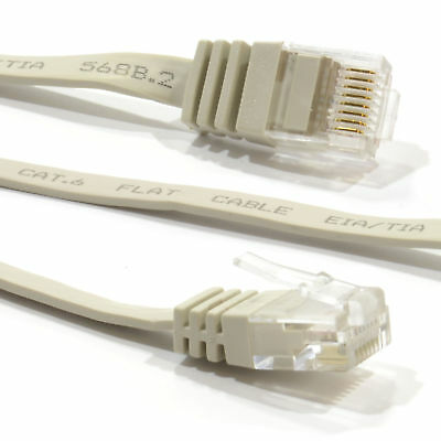10m FLAT CAT6 Ethernet LAN Patch Cable Low Profile GIGABIT RJ45 BEIGE [007650]