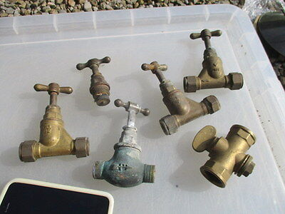Old Brass Taps Part Spare Plumbing Garden Stables x6 vintage / retro