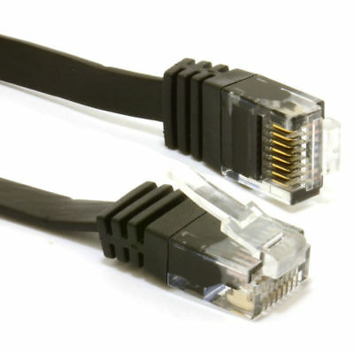 30m FLAT CAT6 Ethernet LAN Patch Cable Low Profile GIGABIT RJ45 BLACK