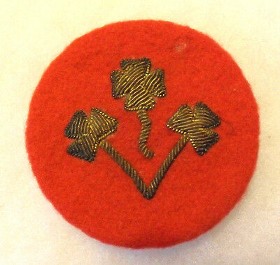 1940's Pakistan Army 8Th Ie Unit Padded & Bullion On Red Wool W/ Wwii Safety Pin