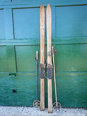"""ANTIQUE PATINA Skis 72"""" Long with Metal Bindings and OLD Bamboo Poles"""