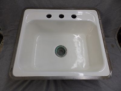 Vtg Mid Century Cast Iron White Porcelain Drop In Sink Basin Standard 1573-16