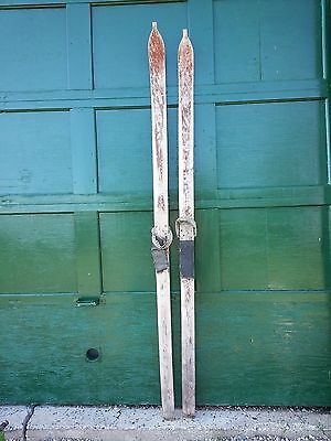 """GREAT Antique Wooden Skis 86"""" Long Have a Primitive Look Hand Made"""