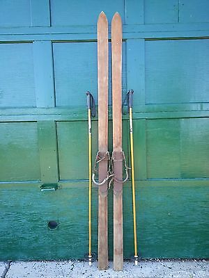 """BEAUTIFUL ANTIQUE Wooden 78"""" Long Skis with Leather + Metal Bindings"""
