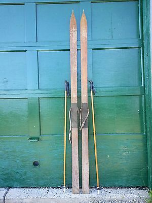 """Vintage Wooden 89"""" Long Skis with Pointed Tips at the Top of the Skis"""