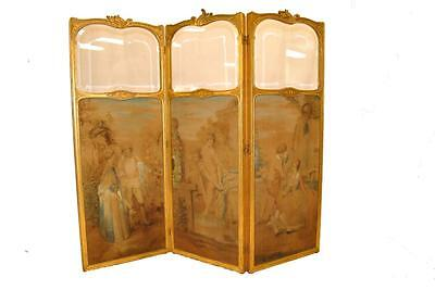 Antique 3 Panel Hand Painted French Dressing Screen Room Divider