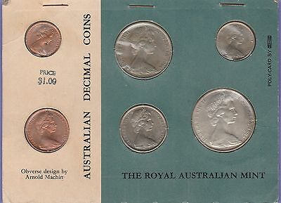 Australia Decimal (6) Coin 1966 Card Mint Set All Uncirculated Condition Cat#MS1