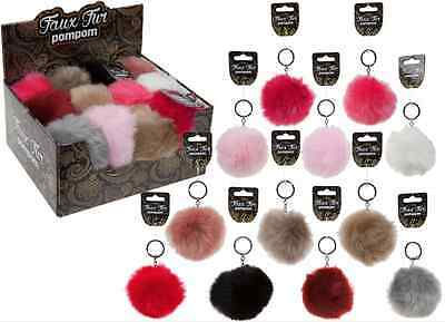 Girls Ladies Faux Fluffy Fur Pom Pom Ball Keyring Car Cell Phone Handbag Charm