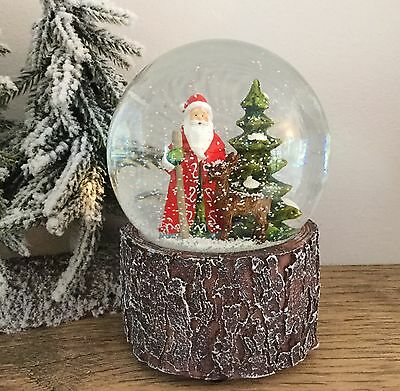 Woodland Santa Snow Globe Gisela Graham Musical Vintage Christmas Father