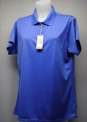 New Ladies XL Antigua Exceed short sleeve polyester golf polo shirt blue