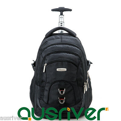 Luggage Backpack Carry On Travel Laptop Bag Universal Wheel Large Capacity Black