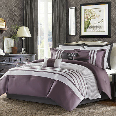 Deluxe Grey Black Scroll Embroidered 7pcs Cal King Queen Comforter Set New