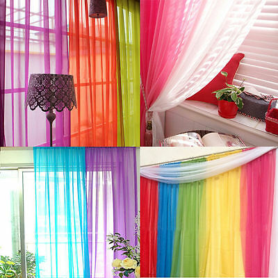 Coloful Floral Tulle Voile Door Window Curtain Drape Panel Sheer Scarf Divider H