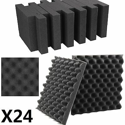 Pack 24 Sheets Tiles Acoustic Foam Treatment Sound Proofing Egg Profile Studio