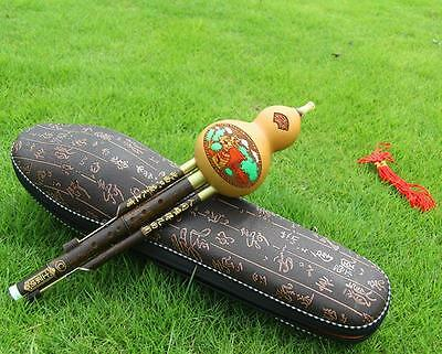 New Arrival Chinese Hulusi Drone Bamboo Flute in A/bB/C/D Key + Flute Case