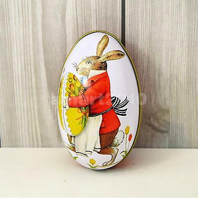 Easter Egg vintage Bunny Rabbit Tin Boxes Painted Basket Candy Accessory 03