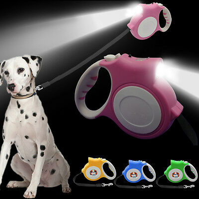5M Retractable Night Safety Dog Leads with Light Flexible Puppy Auto Leash Belt