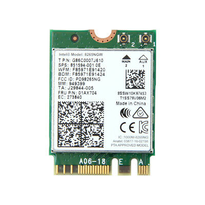 01AX702 New Intel Dual Band Wireless-AC 8265NGW BT NGFF OEM P//N 851592-001