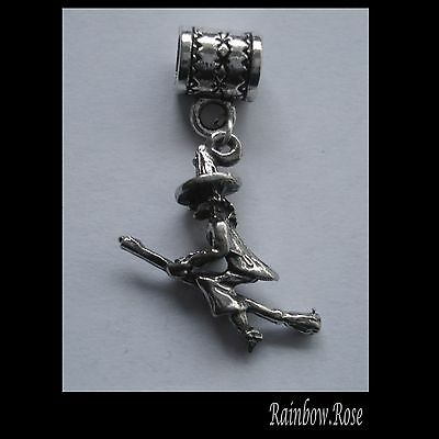 PEWTER CHARM suit European Bracelet #228 WITCH on BROOM (20mm x 20mm) 3D