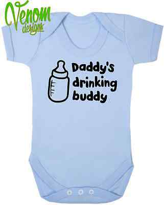 Daddy's drinking buddy Baby Toddler Vest Gift Body Suit Grow CHRISTMAS XMAS BOY
