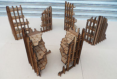 wargames Scenery 6  Ruined Buttress Buildings 40K 28mm Bolt Action Terrain