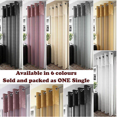 MADEIRA Curtain Crushed MetalIic Luxury Voile Net Panel Eyelets Ring Top Panels