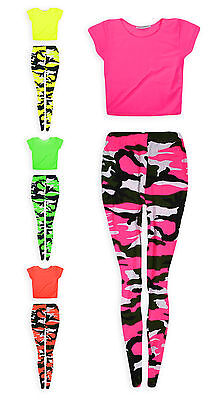 Girls Dance Set Neon Crop Top And Camo Legging 2 Piece Set New Kids Age 7-13 Yrs