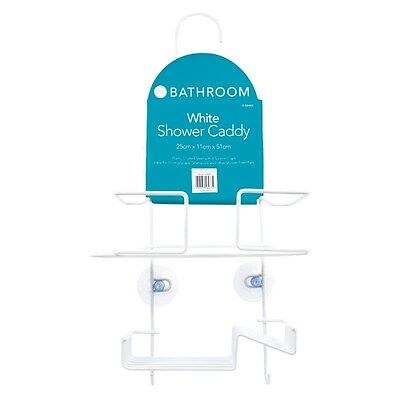 White Shower Caddy Double Organiser with Hanging Hook Shelf Basket Tidy Bathroom