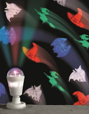 LED Bulb Projector Halloween Pictures Images Witches Hat Bats Flying Witch Broom