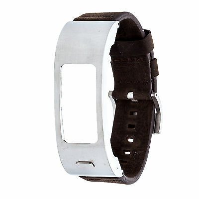 Garmin Brushed Silver-Tone Stainless Steel  Brown Leather Strap Vivofit 2 Watch