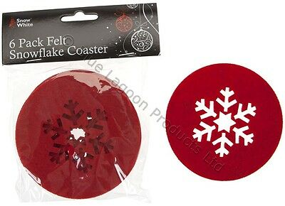 6 x Red Snowflake Felt Coaster Table Decoration Tableware Cup Traditional Nordic