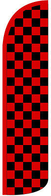 Checkered Black and Red Swooper Windless Flag (2.5ft x 11.5ft)