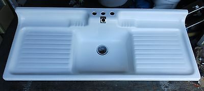 Vtg Cast Iron White Porcelain Double Drainboard Mid Century Kitchen Sink 1574-16