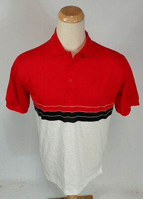New! Vintage NOS Mint Sea Palms Hartwell Polo Golf Surf Stripe Red White Shirt L