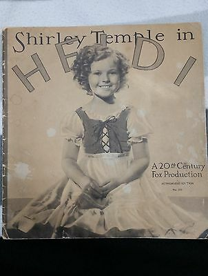 #337 Vintage 1937 Authorized 20th Century Fox Movie Book Shirley Temple in Heidi