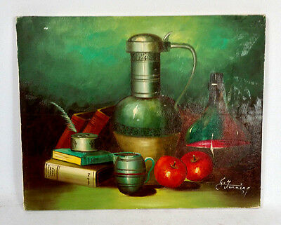 Vintage 50s 60s Mid Century Retro Atomic Still Life Oil Painting Canvas Kitchen