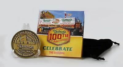Limited Edition Nathans 100TH ANNIVERSARY COMMEMORATIVE ZINC COIN + CARD Rare