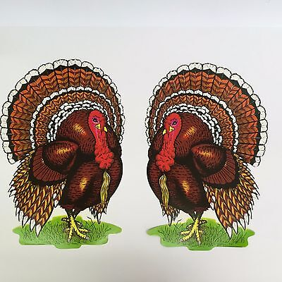 Vintage Beistle 1972 Turkey Cutouts Set of 2 Thanksgiving Two Sided 11x17in NOS