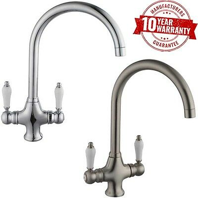 Chrome / Brushed Steel Monobloc Twin Lever Handle Kitchen Mixer Tap Series 10
