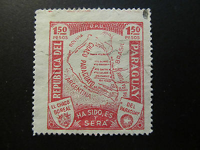 1932/35 - Paraguay - Map Of Gran Chaco - Scott 324 A60 1,50P