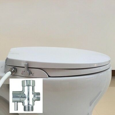 Hibbent Non Electric Toilet Bidet Seat with Cover - Round/Standard Style O-Shape