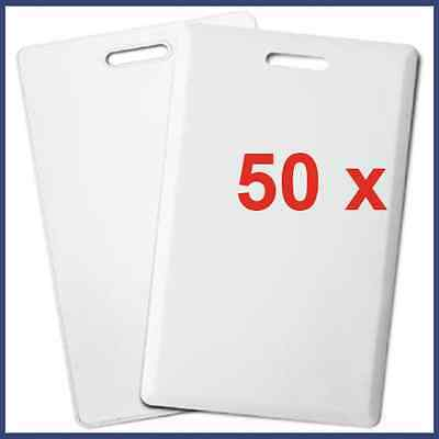 50 x T5577 125KHz CLAMSHELL LOW FREQUENCY RFID ID CARD READ WRITE KEY RING HOLE