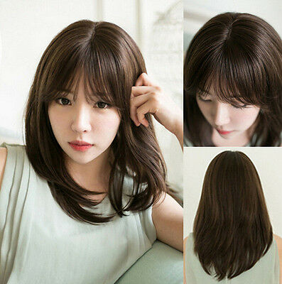 New Women's Fashion Long Straight Brown Hair Cosplay Costume Party Natural Wigs