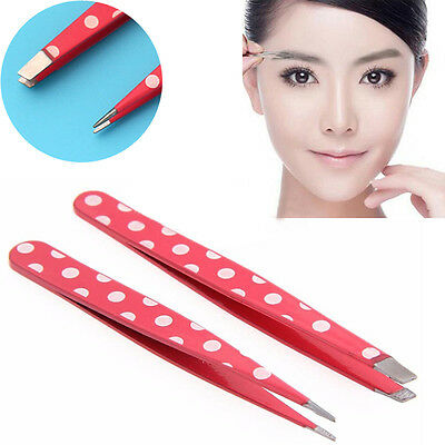 2* Stainless Slanted &Pointed Hair Removal Eyebrow Tweezer Beauty Makeup Tools