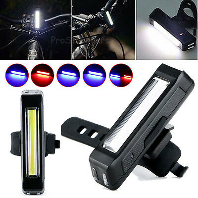 USB Rechargeable COB LED Bicycle Cycling Front Rear Tail Light Lamp Waterproof