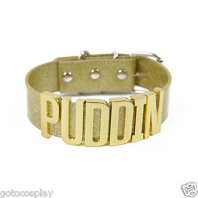 Harley Quinn Choker Inspired Gold Neck Collar Puddin Necklace Cosplay Costume